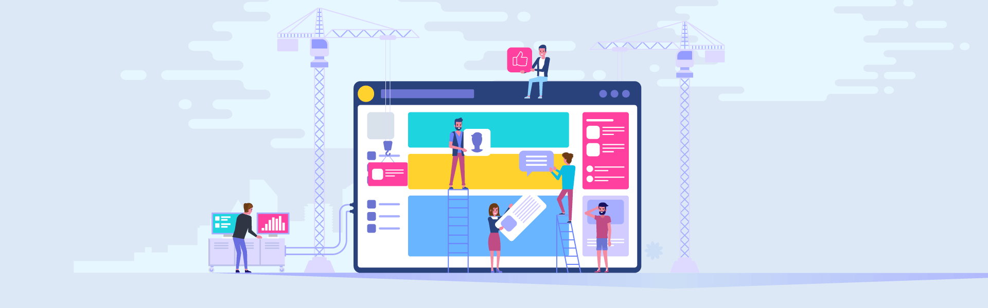 Characters building a a website